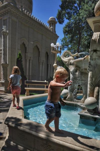 Носится по бордюру фонтана в Старом парке