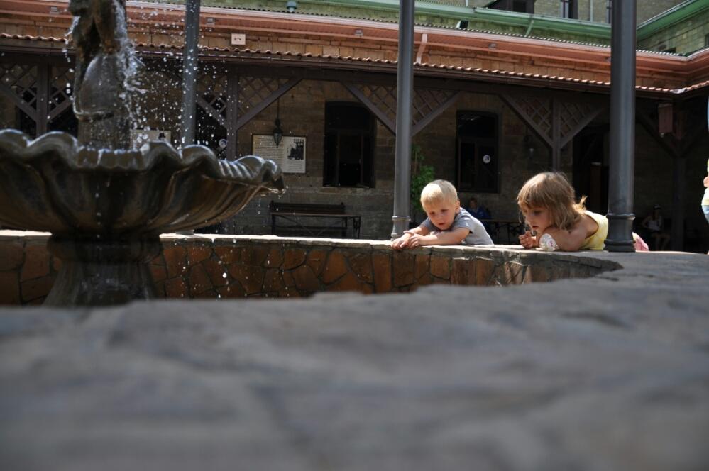 Возле фонтанчик с обезьянкой в Абрау-Дюрсо