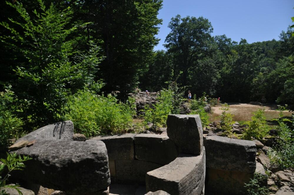 Вид с разрушенного дольмена на поляну группы дольменов Жане I