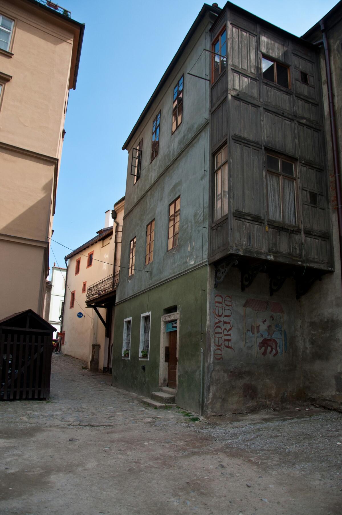 Граффити на стене дома в Крумлове