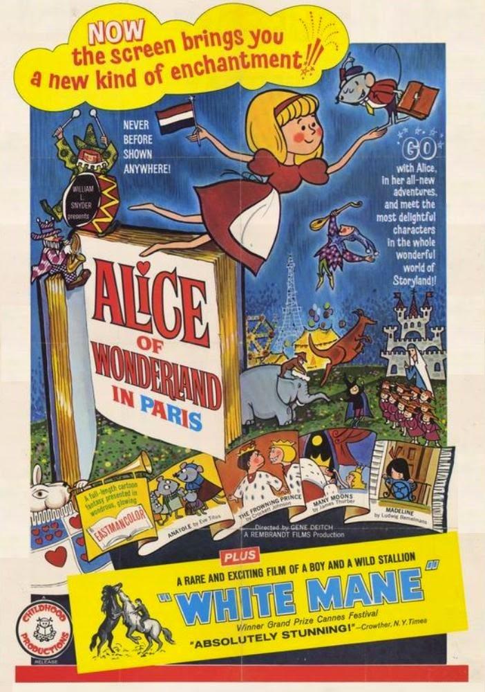 Постер к мультфильму «Алиса в Париже» 1966 года.
