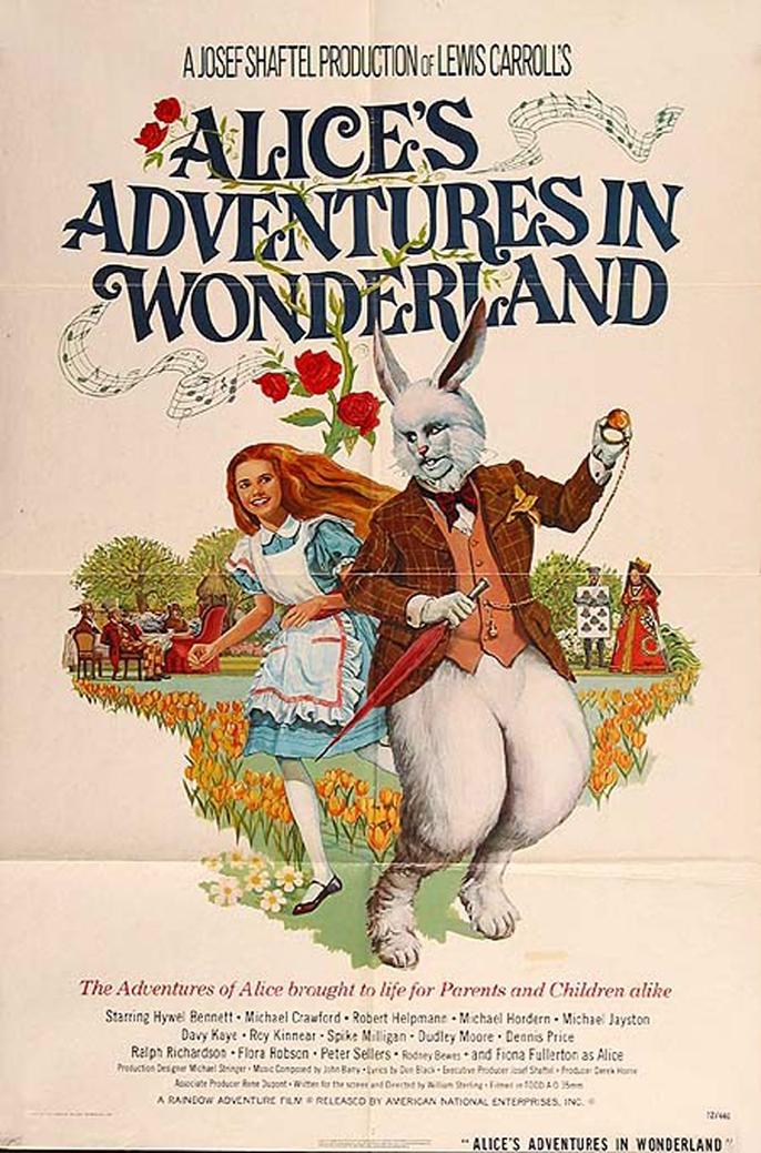 """Обложка фильма """"Алиса в Стране чудес"""" (1972). Режиссер Уильям Стерлинг"""