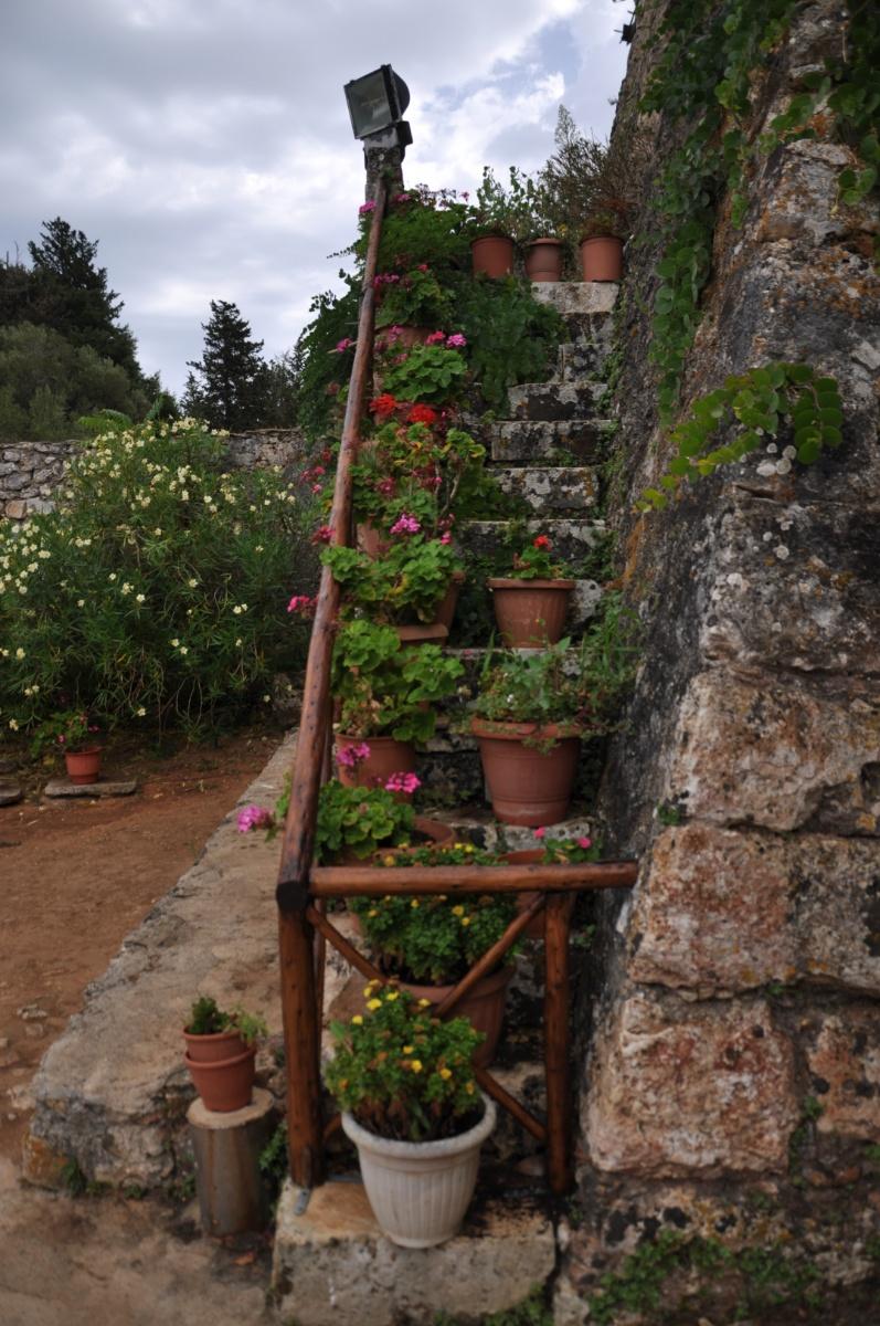 Цветочные горшки на лестнице